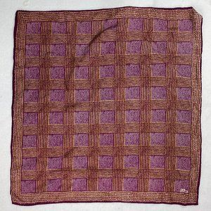 Echo Silk Scarf Fuchsia Gold Square Hand Rolled